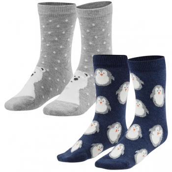 Living Crafts Kindersocken Bär und Pinguin, 2er, 35-38